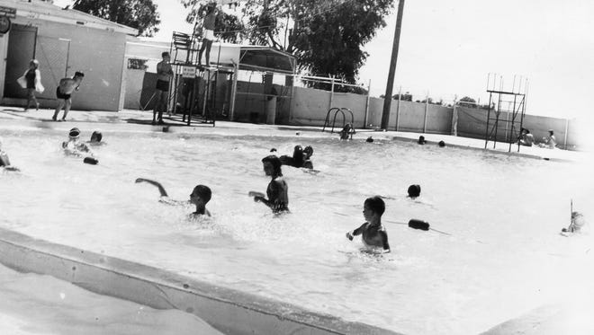 The Gilbert Jaycees built a swimming pool for Gilbert Park in 1948.