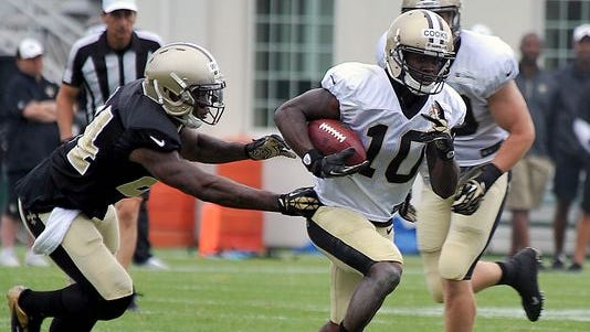 New Orleans Saints wide receiver Brandin Cooks (10) is in constant banter with corner Keenan Lewis on who is the faster player on the team.