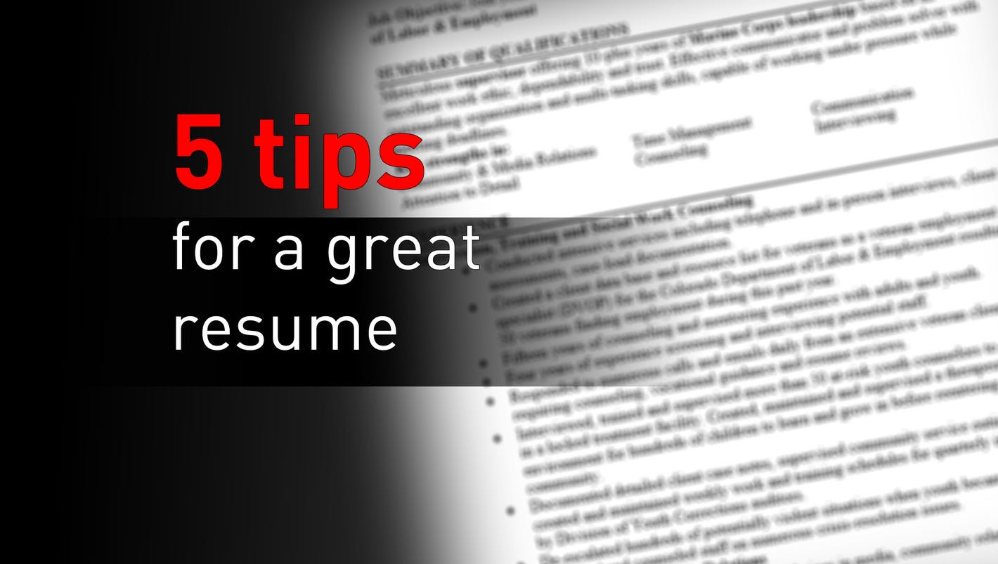 5 tips for a great resume
