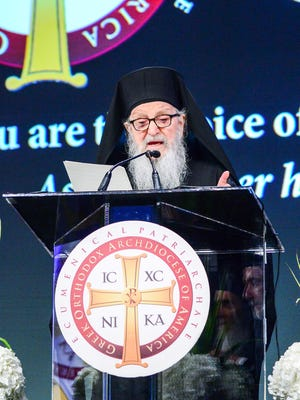 Archbishop Demetrios of America speaks during the  43rd Clergy Laity Congress of the Greek Orthodox Archdiocese of America last week in Nashville.  He is the head of the Greek Orthodox Church of America.
