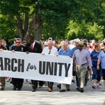 Supporters of police officers come together for a unity rally at the State Capital in Frankfort, Kentucky.       July 21, 2016