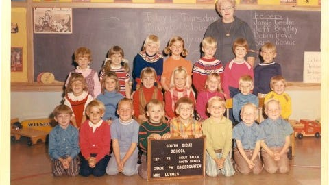 A kindergarten class inside South Sioux Elementary, with teacher Ruth Luymes.