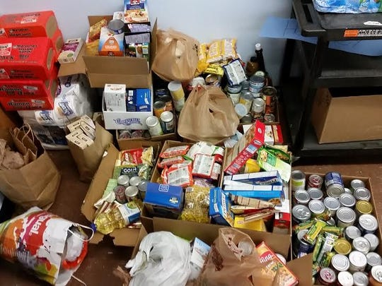 Some of the food donations collected by students, faculty and staff at Mount Mansfield Union High School.
