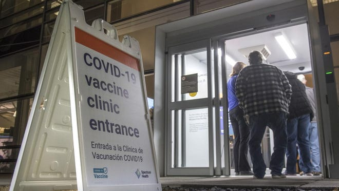 Spectrum Health launched its first public COVID-19 vaccination clinic Monday, Jan. 11, at 6 a.m. Vaccinations are by appointment only.