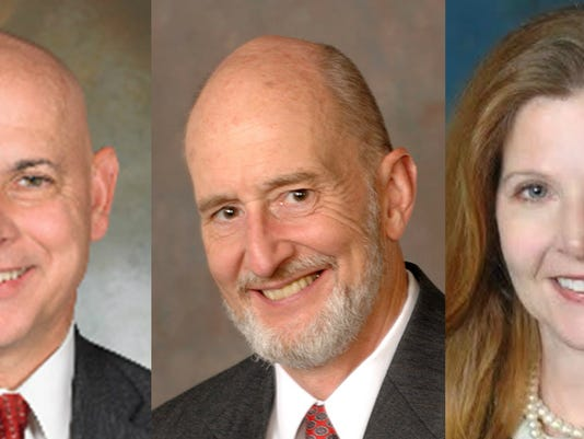 From left, York County judicial candidates are Michael Flannelly, Christopher Menges and Kathleen Prendergast.