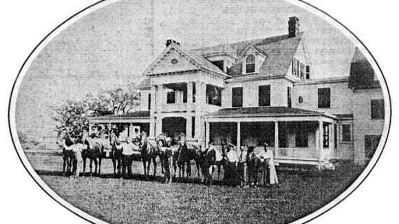 At the turn of the 20th century in Springettsbury Township, Edwin Myers, in the tobacco business, brought this Georgian Revival look to the Meadowbrook Mansion, now known as Christmas Tree Hill. This photograph came from a Meadowbrook Village brochure filed at the York County History Center.