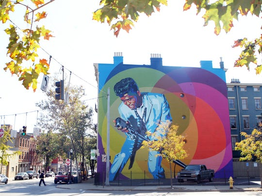 A mural of James Brown is now on the north face of a building in the 1400 block of Main Street. He recorded some of his most iconic tracks at King Records in Cincinnati.