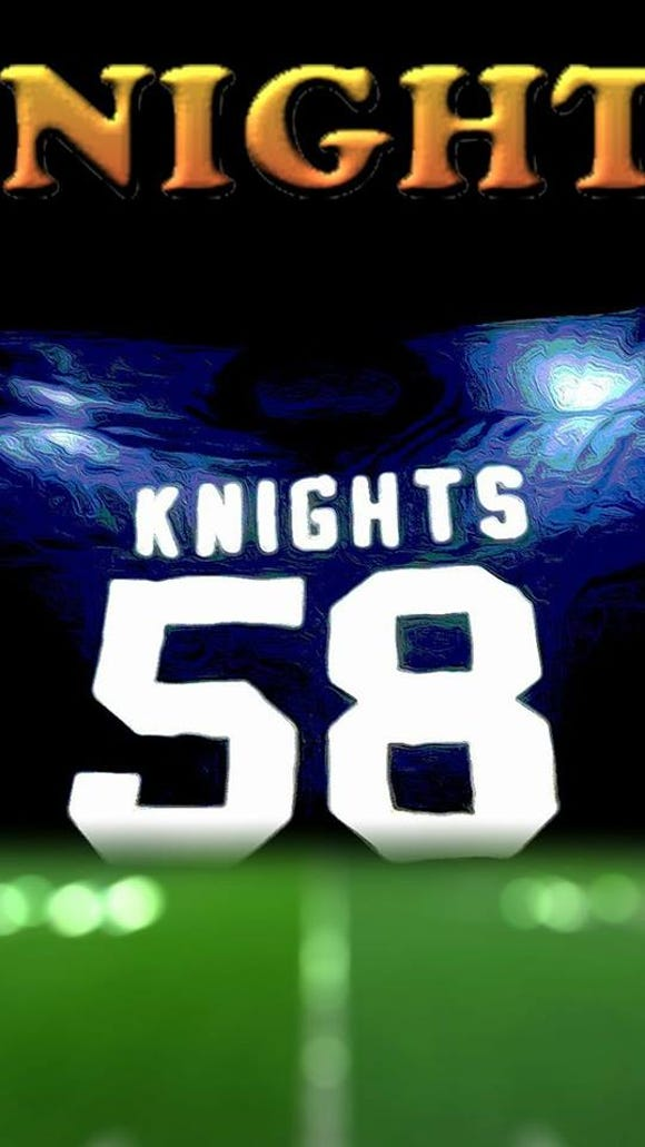 A promotional image for the Knights 58 movie about the 1979 Old Tappan football team.