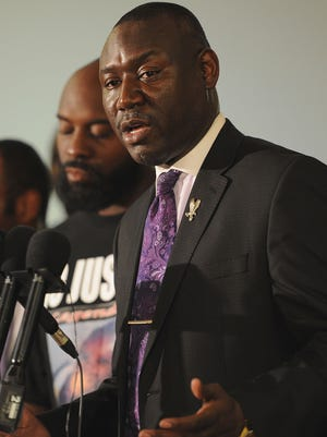 Lawyer Benjamin Crump speaks to the media during a press conference Aug. 11, 2014, in Jennings, Mo., on the shooting death of 18-year-old Michael Brown.