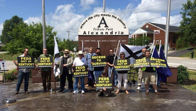 Matthew Heimbach (center, with beard) protests with members of the League of the South and the National Socialist Movement on May 30, 2015 in Alexandria, Ky. The Anti-Defamation League considers the National Socialist Movement a neo-Nazi organization.