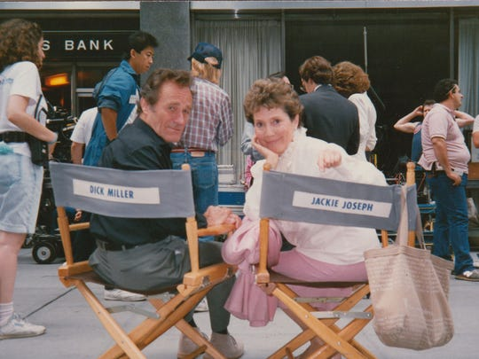 """Dick Miller and Jackie Joseph on the set of Joe Dante's """"Gremlins 2: The New Batch."""""""