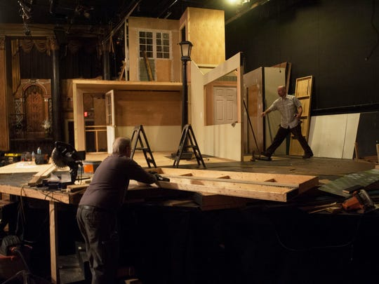Members of the Ritz Theatre Company's stage crew work on building a set for the upcoming run of a Street Car Named Desire, in the Ritz Theatre in Haddon Township. The Ritz Theatre Company is currently celebrating its 30th anniversary season. 02.19.15