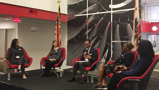 U.S. Rep. Steve Knight makes a point during a Simi Valley panel discussion on bringing more women into the aerospace industry. The panel was held at Meggitt Control Systems Ventura County in Simi Valley.