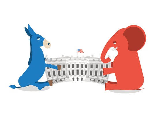 Republicans and Democrats share authority. Elephant and Donkey divide White house. Political presidential elections in USA. Government Building America