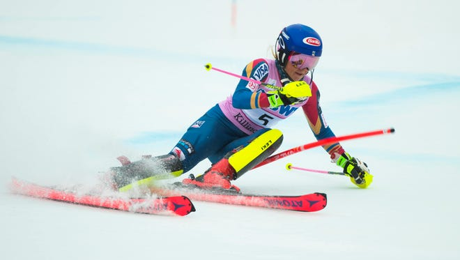 Nov 26, 2017; Killington, VT, USA; Mikaela Shiffrin of the United States during the first run of the women's slalom race in the 2017 Audi FIS alpine skiing World Cup at Killington Resort. Mandatory Credit: Erich Schlegel-USA TODAY Sports