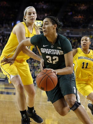 Michigan State's Taya Reimer (32) earned honorable mention All-Big Ten honors during her debut season as a Spartan. She is averaging 9.5 points and shooting 49.8 percent from the field.