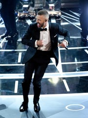 """Justin Timberlake performs songs from best original song nominee """"Can't Stop the Feeling,"""" from """"Trolls"""" at the Oscars on Sunday, Feb. 26, 2017, at the Dolby Theatre in Los Angeles."""