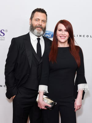 "Nick Offerman and Megan Mullally have co-written a funny book about their ""love story."""
