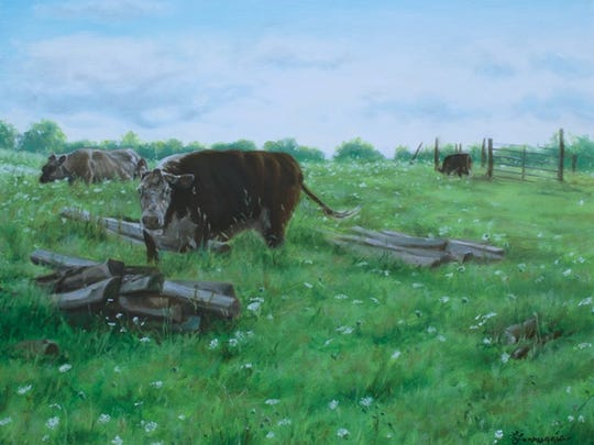 """Cows at Pasture"" by Laianna Ferruggi is on view in the Beacon Room at BAU."