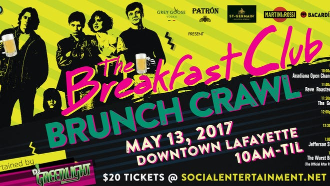 The Breakfast Club Brunch Crawl will be held on Mother's Day weekend.