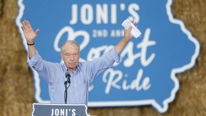 Sen. Chuck Grassley thanks the crowd Saturday, Aug. 27, 2016, during the second annual Roast and Ride at the Iowa State Fairgrounds in Des Moines.