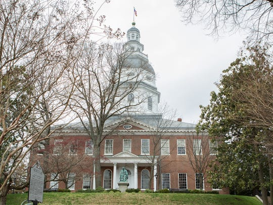An external view of the Maryland Statehouse in Annapolis