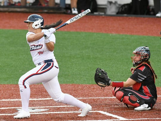 Lauren Chamberlain of the USSSA Pride hits  a home