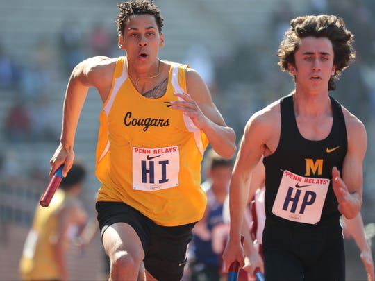 Wellington Ventura, of Cresskill, runs the anchor leg of the 4x400 in 49.27, the fastest leg of the heat. In doing so he passed Spencer Cifrodelli, of Montgomery.  Cresskill finished with a time of 3:33.27. Saturday, April 28, 2018