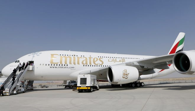 A file picture Nov. 19, 2013 shows an Emirates Airline's Airbus A380-800 on display at the Dubai Airshow.