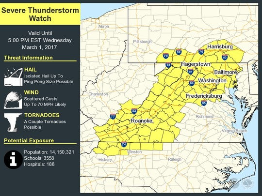 South-central Pennsylvania on March 1, 2017, is at the northern edge of a severe thunderstorm watch.