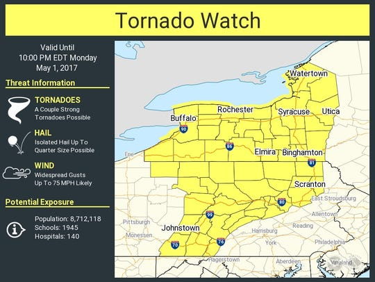 A tornado watch has been issued on May 1 for much of