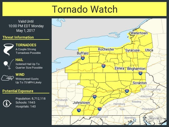 A tornado watch has been issued on May 1 for much of Pennsylvania. .