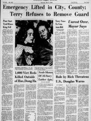 The front page of the Thursday, May 2, 1968 Evening