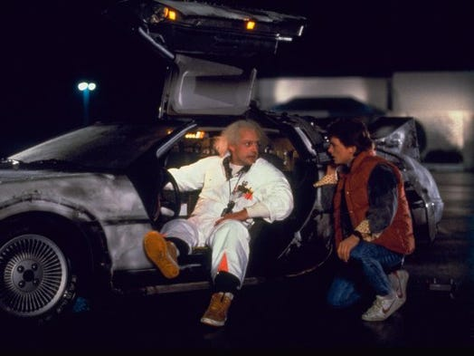 "Michael J. Fox (right) and Christopher Lloyd in a scene from ""Back to the Future"" (1985.)"