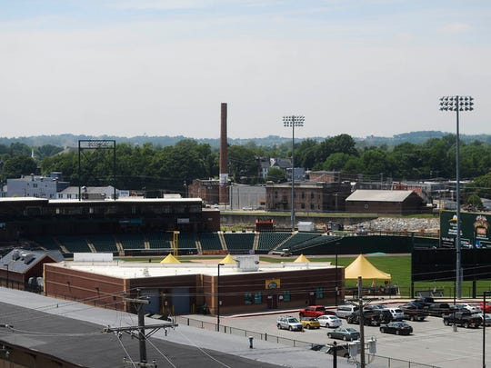 A view of Santander Stadium from Think Loud Development's rooftop patio during a green walking tour in downtown York Friday, June 5, 2015. The tour was sponsored by USGBC Central Pennsylvania and hosted by State Rep. Kevin Schreiber, D-York.  Kate Penn -- Daily Record/Sunday News