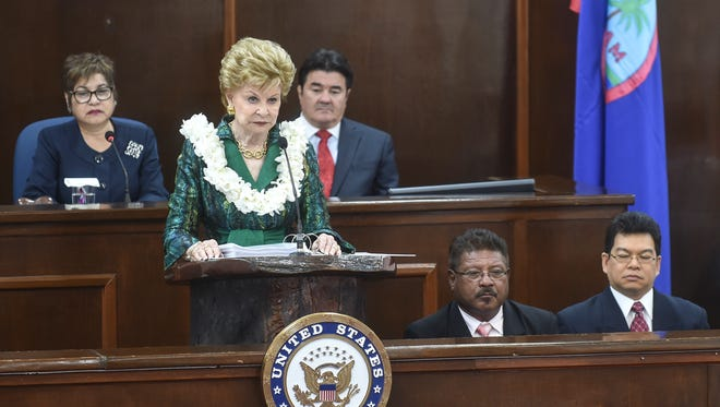 Guam Del. Madeleine Bordallo delivers her annual speech to lawmakers at the island's Legislature in Hagåtña on March 8.