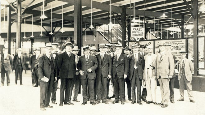 On Aug. 31, 1928, Mayor Malcom E. Nichols leads an inspection of the Ashmont extension of the Dorchester rapid transit line. Learn more at the Boston City Archives (https://cityofboston.access.preservica.com).