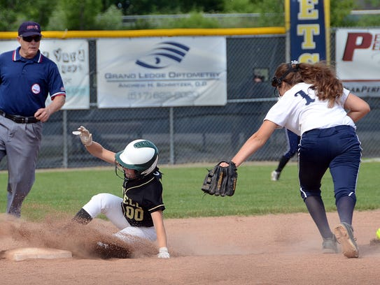 Howell's Maddy Heilner steals second base during a