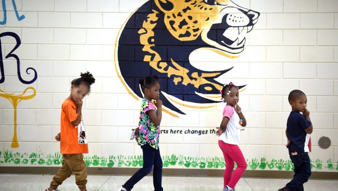 Hornsby Elementary School students walk silently with their fingers pressed to their lips on a September afternoon in this photo from 2019. Registration for Richmond County kindergarten classes began Monday and round-up events are being hosted for the students until April 1.