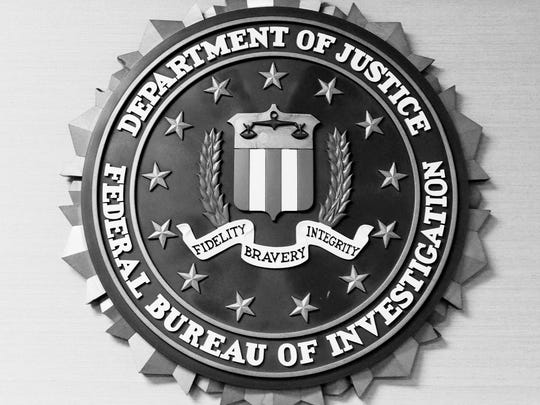The seal of the Federal Bureau of Investigation inside the Shreveport office.