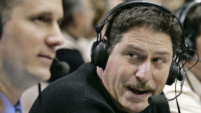 The radio voice of the Purdue Boilermakers Larry Clisby,right, and Rob Blackman  foreground call the game against Southeast Missouri State Saturday, December 30, 2006, in West Lafayette.