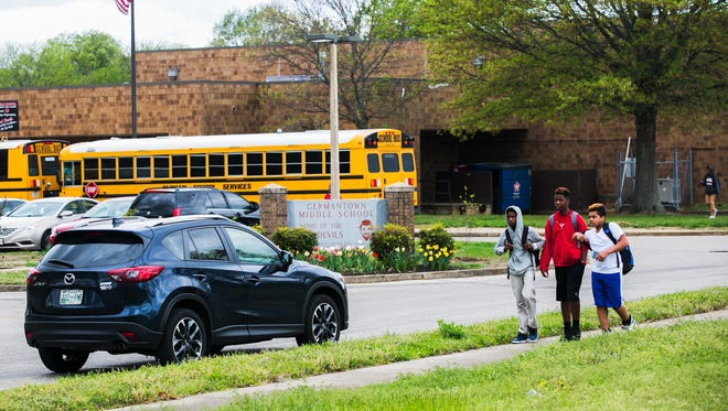 Students from Germantown Middle, located at 7925 CD Smith Road, are released from school on April 5, 2017. Germantown has offered to purchase the building and two others from Shelby County Schools.