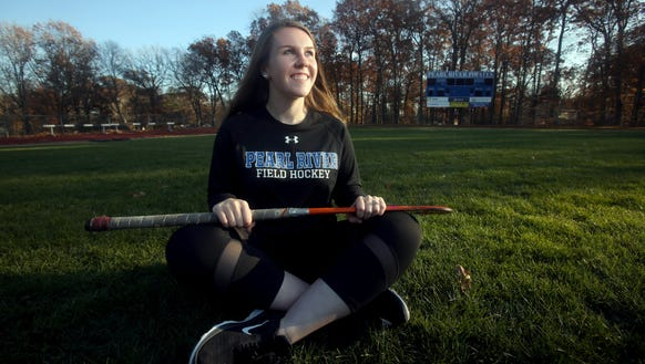 Pearl River field hockey goalie Kerry Gettler, photographed