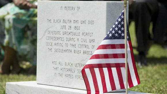 The marker commemorates the black man who died fighting