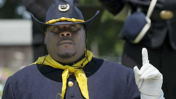 This Buffalo Soldier re-enactor, seen here in 2014,