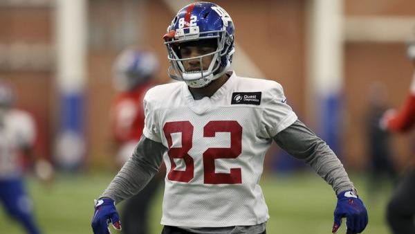 New York Giants wide receiver Roger Lewis (82) runs a drill during NFL football practice, Wednesday, Jan. 4, 2017, in East Rutherford, N.J. (AP Photo/Mel Evans)