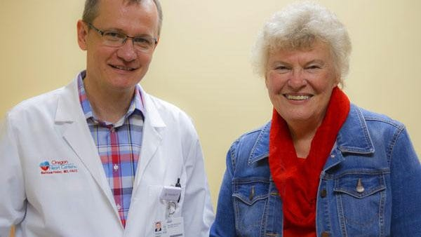 Matthew Fedor of the Oregon Heart Center implanted the new Medtronic Micra(R) pacemaker into Ruth Bissett of Salem during a 25-minute procedure in October.