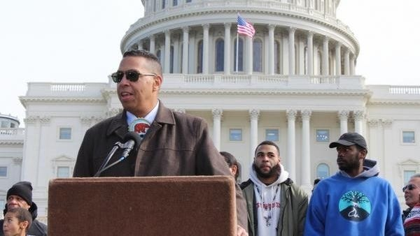 Mashpee Wampanoag chairman Cedric Cromwell speaks at a 2018 rally on Capitol Hill in Washington, in support of a bill that would uphold land in trust in Taunton and Mashpee.