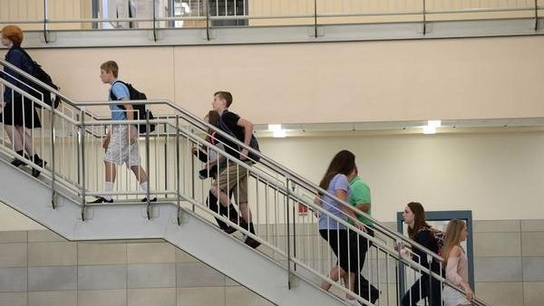Students making their way to class last semester in the new Billerica Memorial High School.