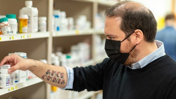 Sean Cothren, 39, last month began a 14-month program to become a pharmacy technician after he was laid off from his job at a ceramics store in the spring.